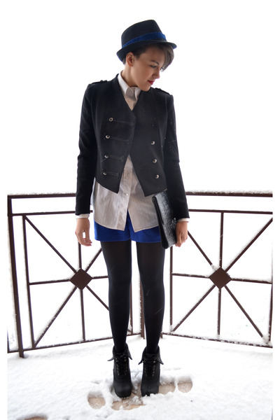 black H&M blazer - black Secondhand bag - blue H&M shorts