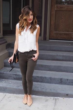 olive green Topshop jeans