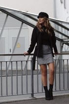 heather gray Mango skirt - black Forever 21 hat