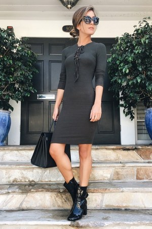 black Forever 21 boots - army green Forever 21 dress