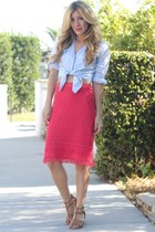 hot pink tory burch skirt - light blue Forever 21 blouse