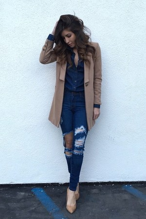 camel Lioness coat - blue Hot Miami Styles jeans