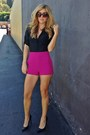 Hot-pink-forever-21-shorts-black-yves-saint-laurent-pumps
