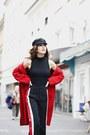 Red-mango-coat-black-forever-21-hat-black-zara-pants