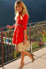 Orange-luluscom-dress-nude-quilted-chanel-bag-sole-society-heels