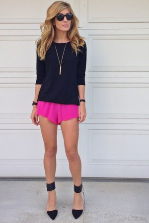Forever 21 sweater - hot pink Gypsy Junkies shorts - black Zara heels