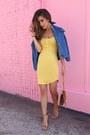 Light-yellow-aritzia-dress-blue-sheinside-jacket-tan-ysl-bag