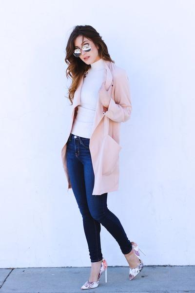 bubble gum Dailylook coat - bubble gum JustFab heels