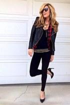 black Yves Saint Laurent heels - brick red Forever 21 blouse