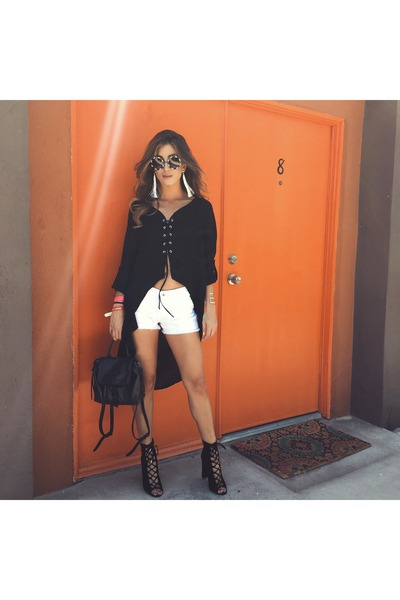 black windsor shoes - black botkier bag - white Big star shorts