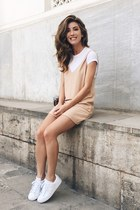 neutral Forever 21 dress - white Adidas sneakers