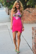 hot pink floral print Mustard Cartel top - hot pink Mustard Cartel skirt
