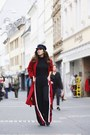Red-mango-coat-black-forever-21-hat-black-zara-pants