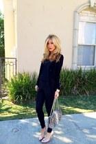 black Forever 21 leggings - beige Chanel bag - tan Shoedazzle heels