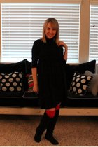 black Forever 21 dress - red Target stockings - black alloy boots