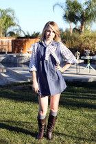 blue Marshalls dress - white vintage shirt - brown Old Navy boots
