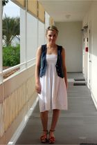 white Anthropologie dress - blue Fossil vest - orange Anthropologie shoes