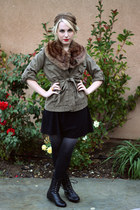 black Target dress - army green Gap jacket - brown vintage scarf - black Wanted