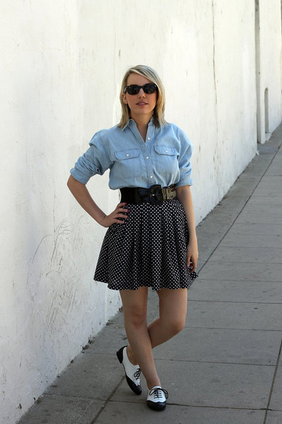 blue Chaps shirt - blue thrifted skirt - black Forever 21 belt - white Candies s