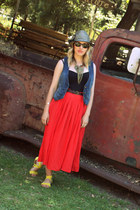 black Urban Outfitters dress - blue Fossil vest - red papaya skirt - yellow H&M