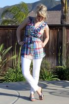 blue Anthropologie blouse - white Walmart jeans - blue Victorias Secret shoes