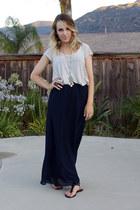 off white kohls shirt - navy thrifted skirt - black Forever 21 sandals
