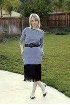 white American Apparel dress - black thrifted skirt - black thrifted belt - whit
