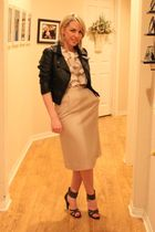 black H&M jacket - black Aldo shoes - beige vintage shirt - beige vintage skirt