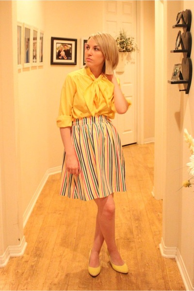 yellow vintage shirt - white Ebay skirt - yellow Target shoes