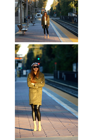 olive green army coat Emerson Fry coat - black coated Emerson Fry leggings