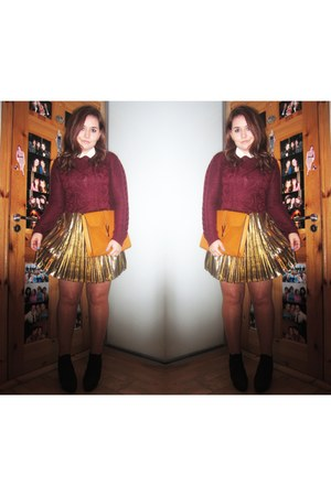 metallic Glamorous UK skirt - knit burgundy H&M jumper