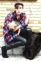 vintage shirt - Zara pants - vintage coat - H&M accessories