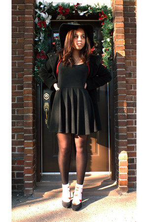 black black knit DIY dress - black black wool hilary radley coat