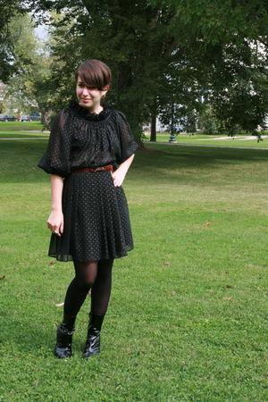 vintage dress - stuart weitzman boots