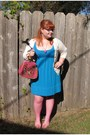 Turquoise-blue-forever-21-dress-hot-pink-fishnet-tights
