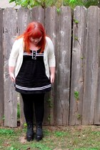 black sailor modcloth dress - black nonage boots - black tights