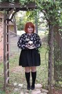 Black-target-dress-black-socks-skull-print-top-black-flats