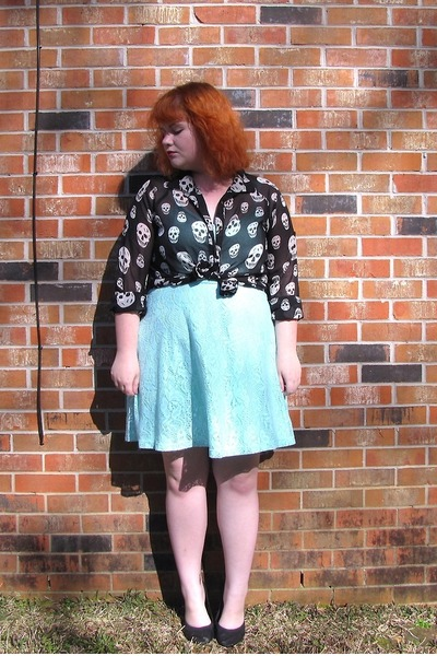 blouse - light blue Walmart dress - black flats
