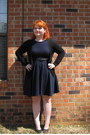 Black-belt-navy-skater-dress-forever21-dress-black-forever21-cardigan