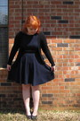 Navy-skater-dress-forever21-dress-black-belt-black-forever21-cardigan