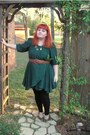 Green-cory-sharp-dress-black-leggings-light-brown-braided-belt