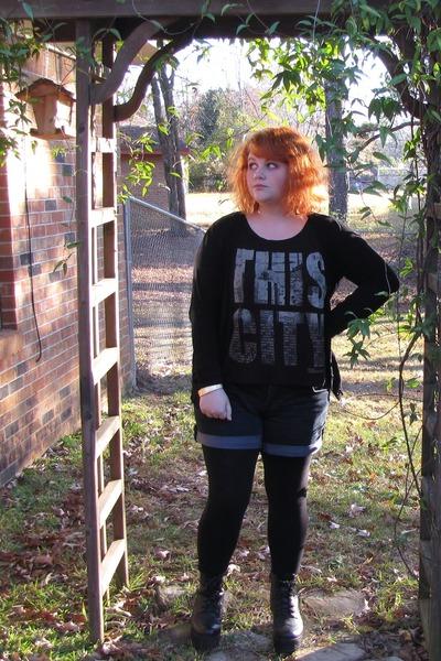 Forever21 t-shirt - boots - Walmart leggings - torrid shorts