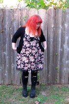 floral print Target dress - black platform boots - black tights