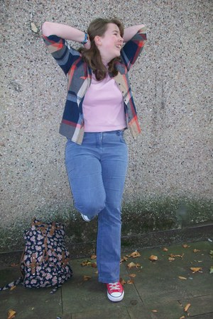 red converse Primark shoes - violet light bootcut next jeans - new look shirt