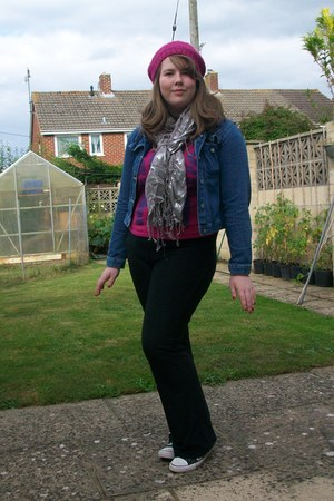 Matalan t-shirt - new look shoes - knitted beret Claires hat - denim Idx jacket