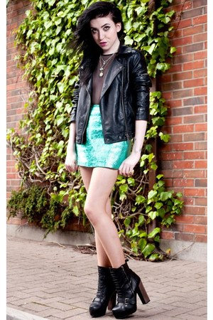 metallic asoscom skirt - leather Topshop boots - leather Topshop jacket