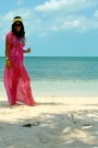 Hot-pink-h-m-dress-yellow-h-m-scarf-black-lspace-swimwear-turquoise-blue-h