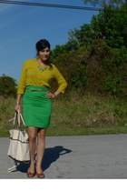 neutral Makr bag - coral YSL ring - chartreuse MaxMara skirt - mustard Jcrew car