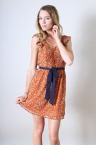 orange Leather and Sequins dress