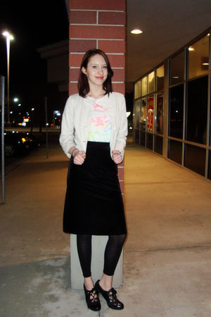 black Target shoes - black Target tights - black  skirt - white Walmart shirt -